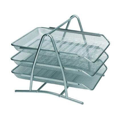 Irattartó fémhálós asztali irattálca - emeletes ezüst