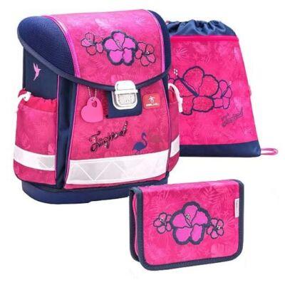 Belmil Classy Tropical Pink flamingós virágos merevfalú iskolatáska szett