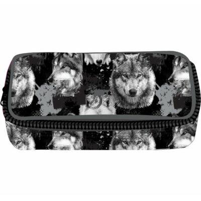 Belmil bedobálós tolltartó belső klapnival - Wolves Grey - farkasos