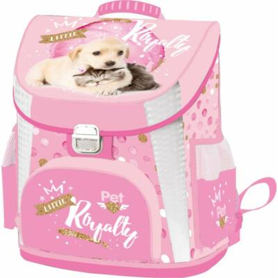 Kutyás cicás prémium merevfalú ergonómikus iskolatáska - Little Friends Pink