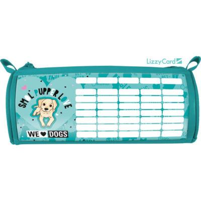 Kutyás hengeres bedobálós tolltartó órarenddel - We love dogs blue