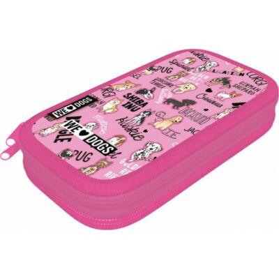 Kutyás emeletes tolltartó We love dogs Pink
