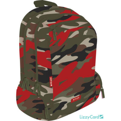 Terepmintás Teen+ hátizsák iskolatáska - Peace Red Label