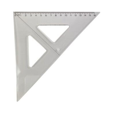 Műanyag vonalzó - 45 fokos 16 cm - átlátszó