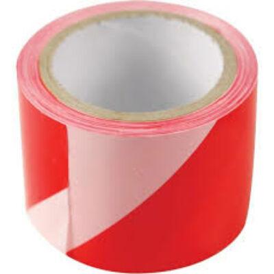 Kordonszalag - 75mm x 100 m EXTOL jelölő szalag - piros-fehér polietilén
