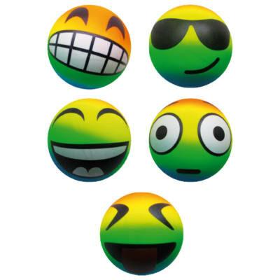 Neon smiley labda 13 cm - emoji gumilabda
