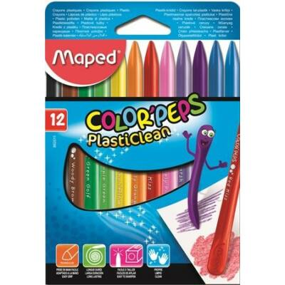 Maped Color Peps PlastiClean zsírkréta - 12 szín
