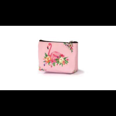 Flamingós cipzáras pénztárca virágos School Art