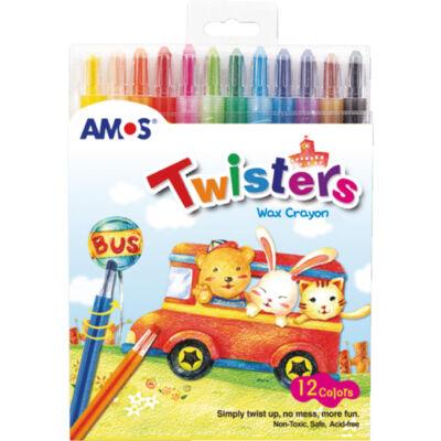 Csavarós zsírkréta toll műanyag burkolatban - 12 szín - Amos Twister