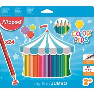 Háromszögletű vastag színes ceruza készlet - 24 db - Maped Jumbo