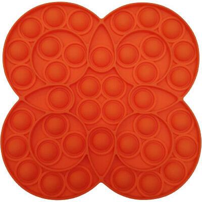 Pop it fidget stresszoldó játék - körös virágos - narancs