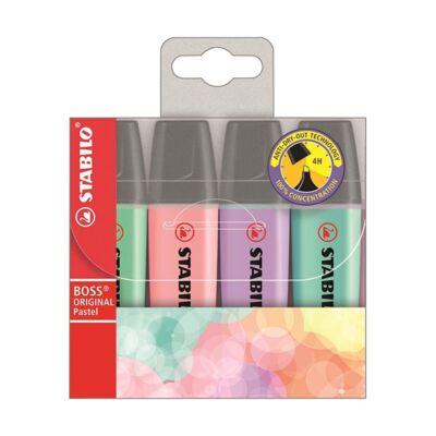 Szövegkiemelő készlet - Stabilo Boss Pastel - 4 pasztell szín/csomag