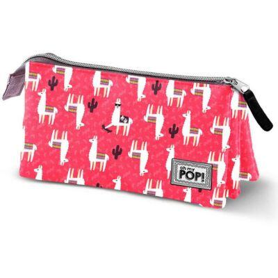 Oh my Pop Cuzco 3 rekeszes bedobálós tolltartó, kozmetikai táska - Láma