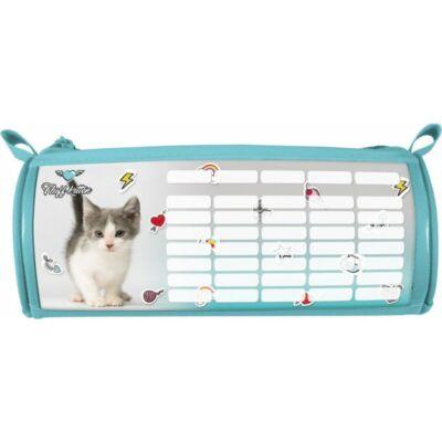 Pet Fluff Kitten cicás hengeres tolltartó órarenddel