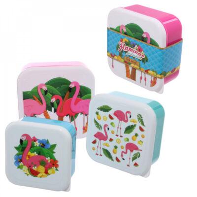 Flamingó uzsonnás doboz szett - 3 db-os uzsis doboz