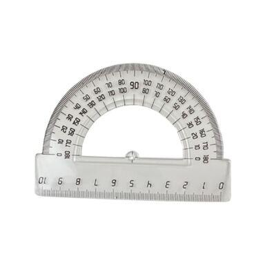Szögmérő 180° műanyag - vonalzó 10 cm